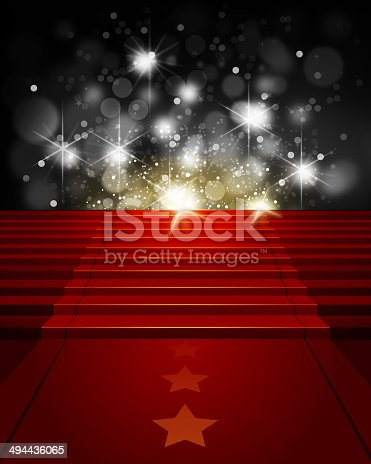 istock Red Carpet on Steps with Paparazzi Flashes 494436065