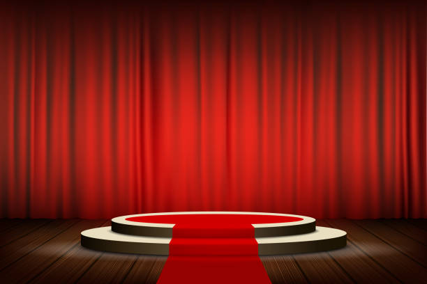 stockillustraties, clipart, cartoons en iconen met rode loper op het ronde podium met stappen - toneel