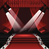 Red carpet stage background with copy space.