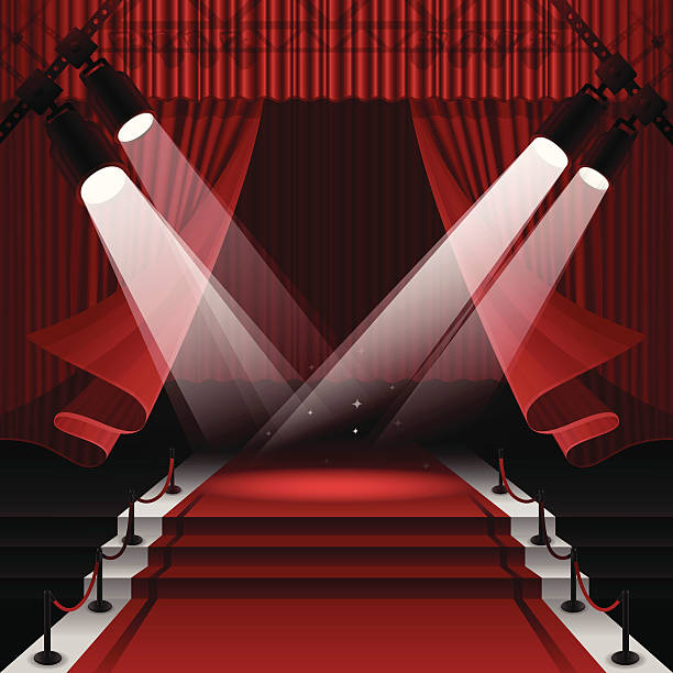 stockillustraties, clipart, cartoons en iconen met red carpet stage - spotlicht belichting