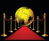 Red carpet to the golden earth globe