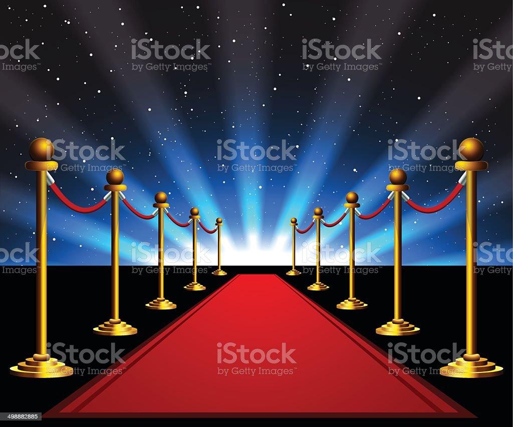 Red carpet to the stars vector art illustration