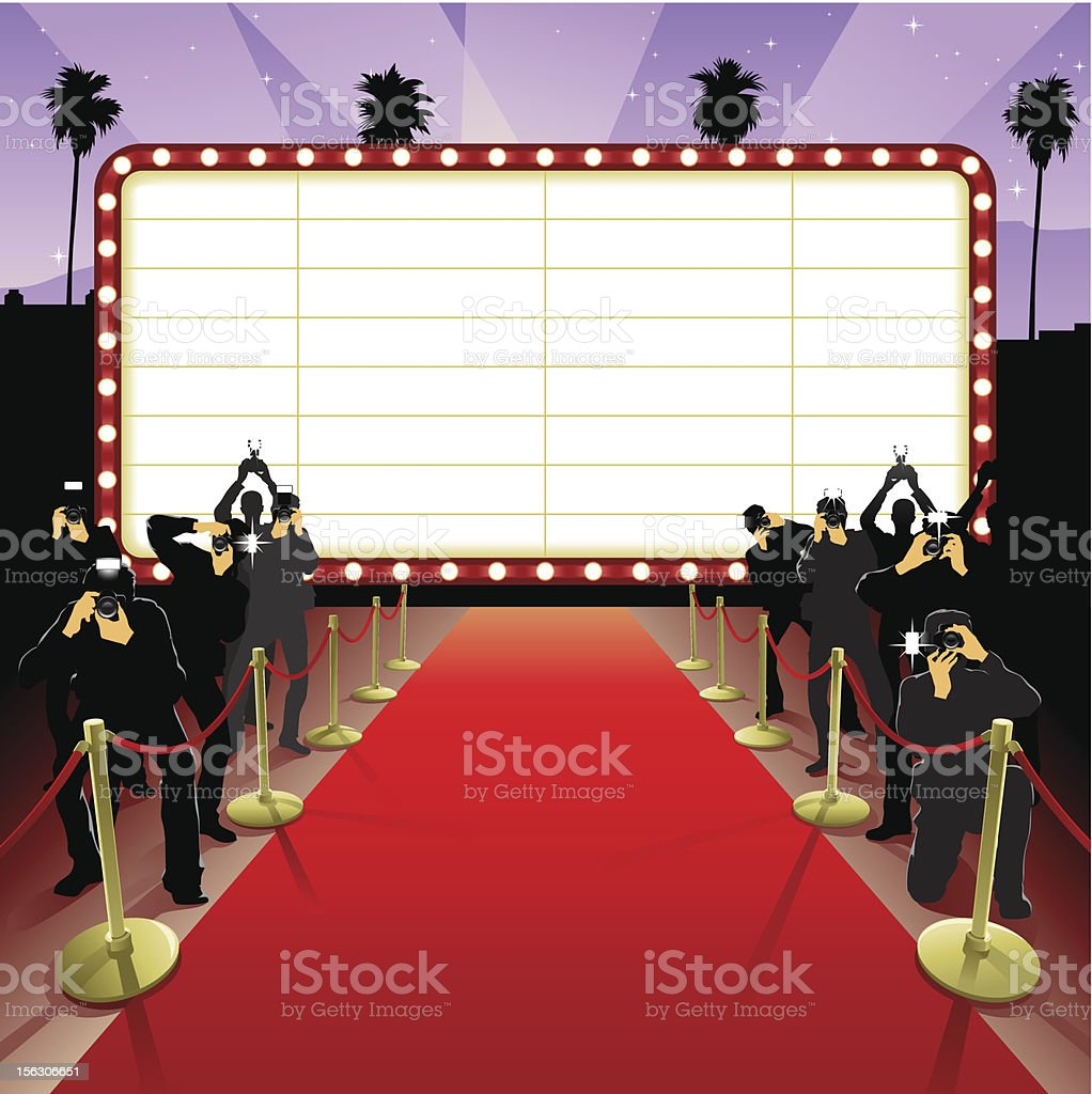 Red Carpet A red carpet treatment for a glamorous person.  Actor stock vector