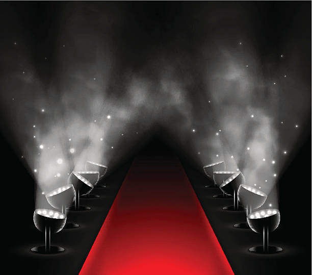 Red carpet Red carpet with spotlights. Illustration contains transparency and blending effects, eps 10 premiere event stock illustrations