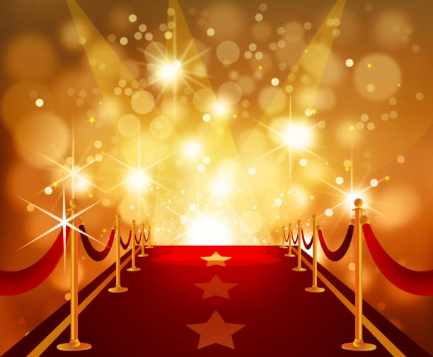 Red Carpet with Bright Flashy Background Self illustrated beautiful Red Carpet with bright flashy background.Each element in a separate layers.Very easy to edit vector EPS10 file.It has transparencies and the effects. fame stock illustrations