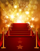 Red Carpet with Bright Yellow Background