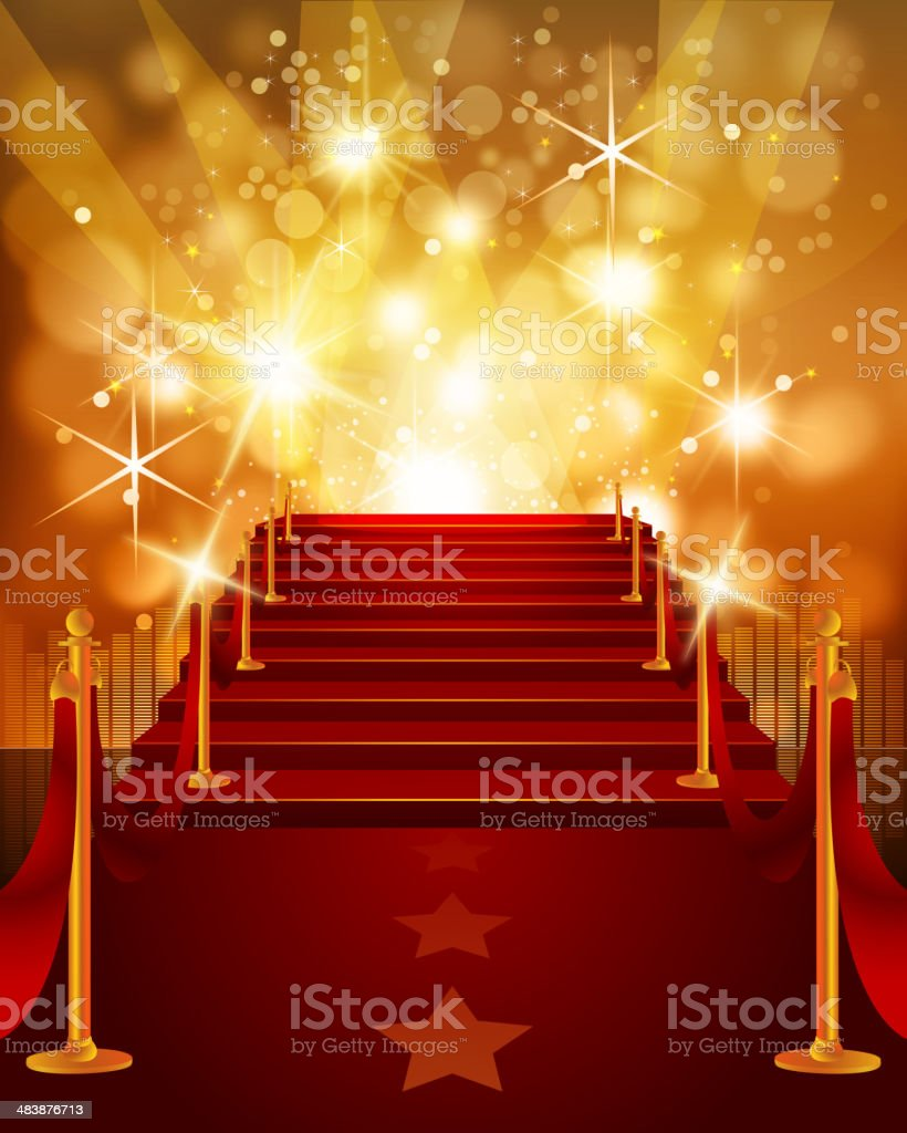 Red Carpet with Bright Yellow Background vector art illustration