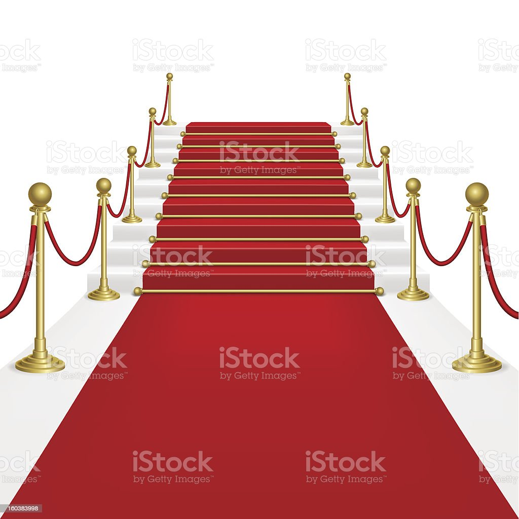 Red carpet with ladder royalty-free stock vector art