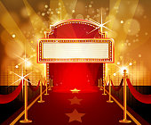 Red Carpet with Marquee in Flashy Background