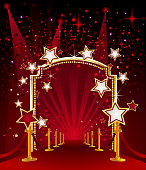 Self illustrated beautiful Red Carpet with Marquee Stars.Each element in a separate layers.Very easy to edit vector file.