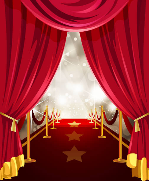 stockillustraties, clipart, cartoons en iconen met red carpet with paparazzi flashes behind the curtain - photography curtains