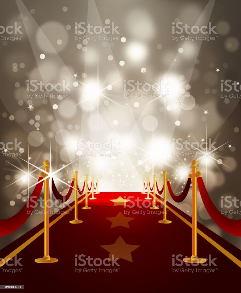 Red Carpet with Paparazzi Flashes vector art illustration