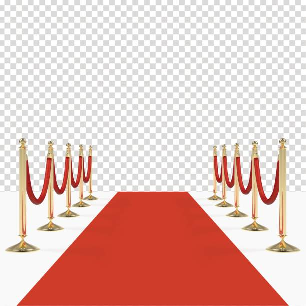 Red carpet with red ropes on golden stanchions Red carpet with red ropes on golden stanchions. Exclusive event, movie premiere, gala, ceremony, awards concept. Blank template illustration with space for an object, person, text. premiere event stock illustrations
