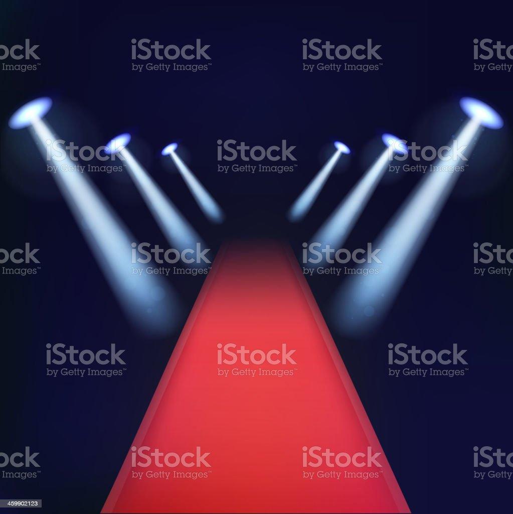Red carpet with spotlights. vector art illustration