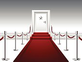 Vector illustration representing luxury red carpet streaming to the stairs and door with silver star. File includes high resolution JPEG.