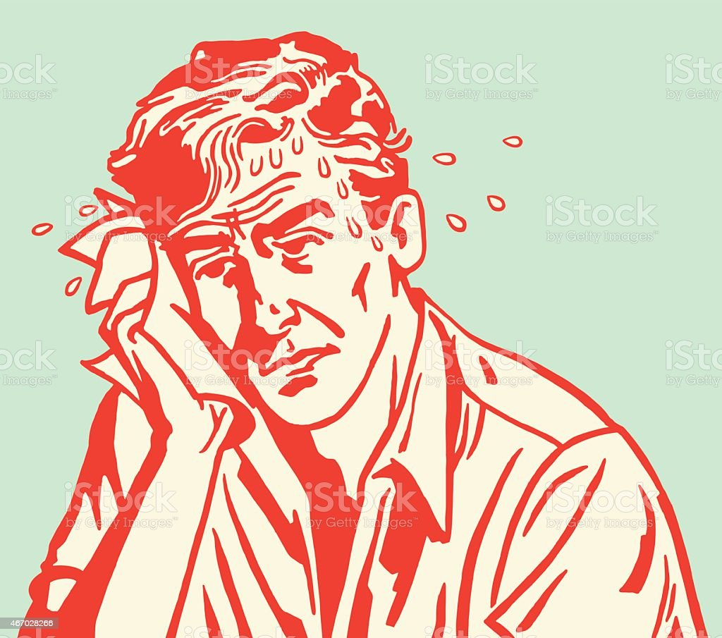 Red carton outline of sweaty sad man on blue background vector art illustration