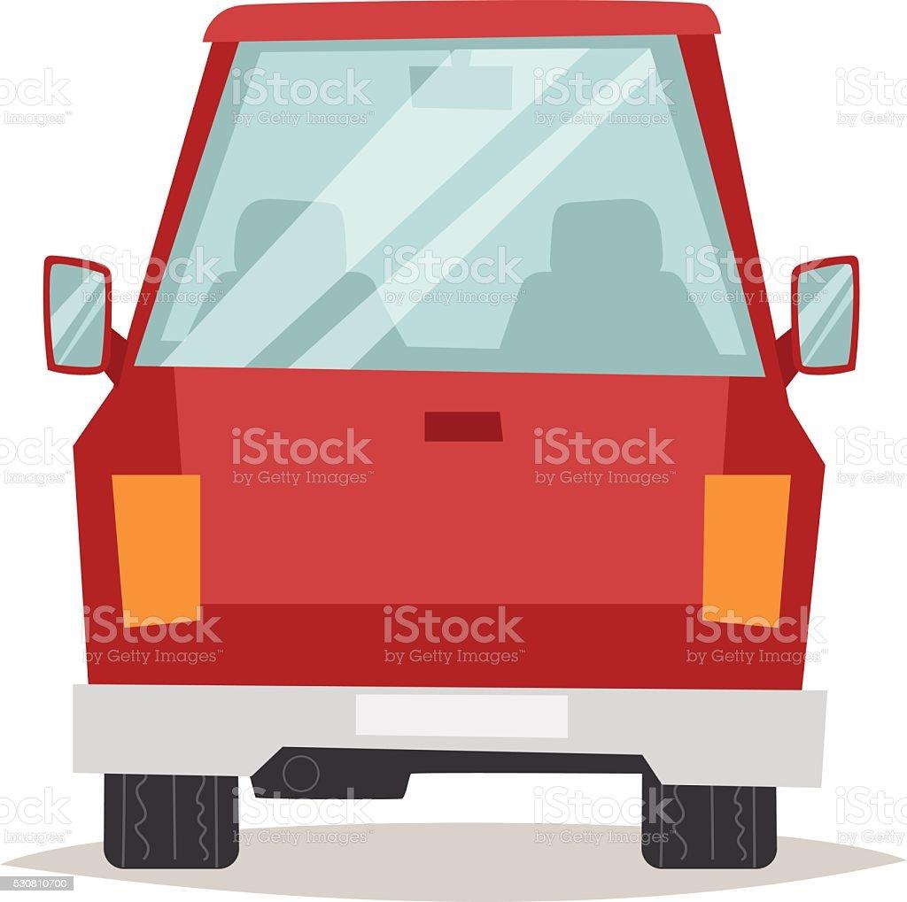 Red cartoon car back view design flat vector illustration vector art illustration