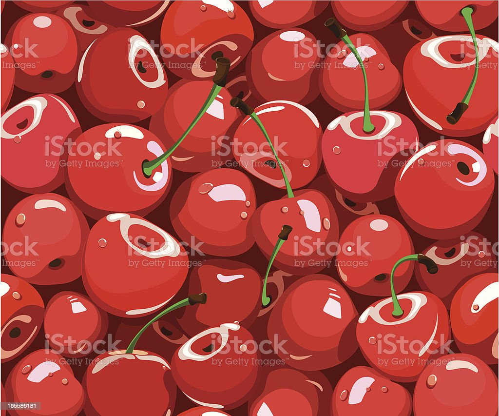 Red cartoon cherries pattern all over page vector art illustration