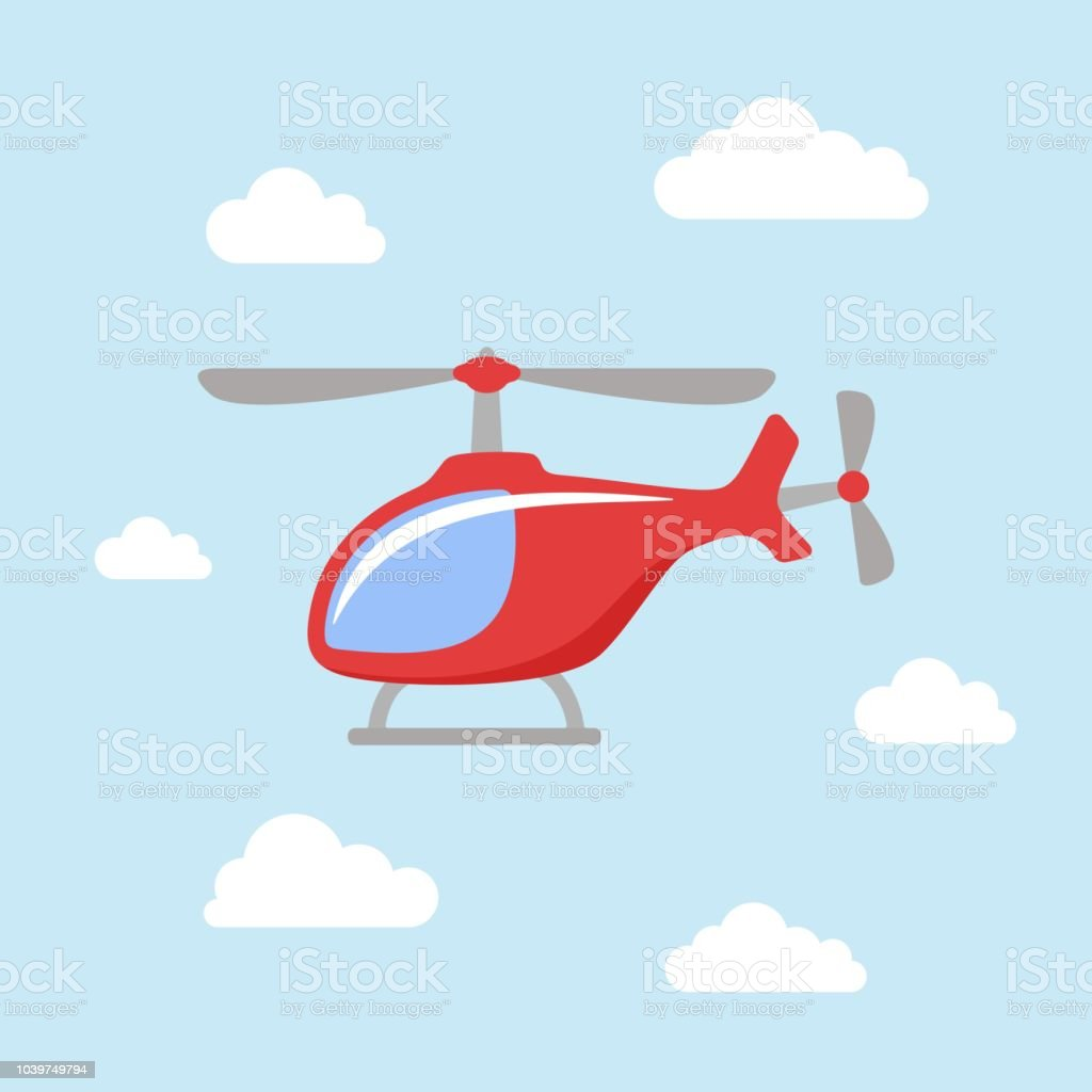 Red Cartoon Helicopter Is Flying In A Blue Sky With White Clouds Stock Illustration Download Image Now Istock