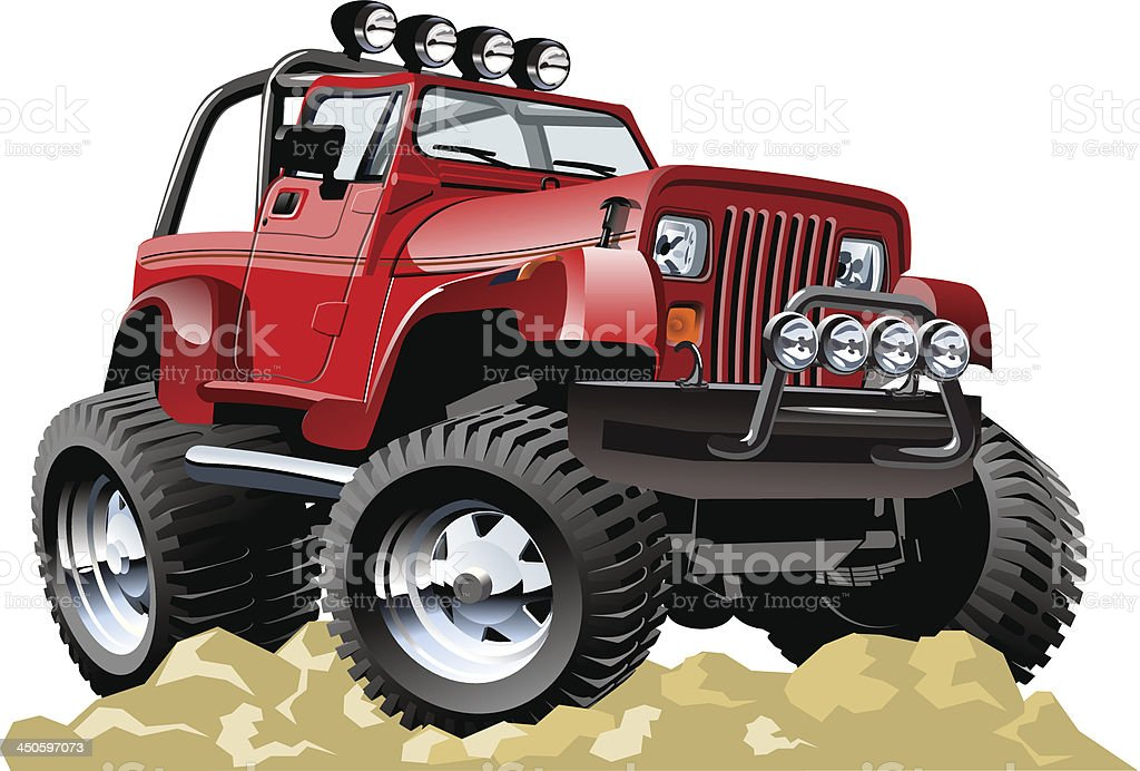 Red cartoon jeep atop rocky ground vector art illustration