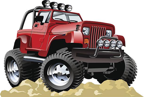Red cartoon jeep atop rocky ground vector art illustration