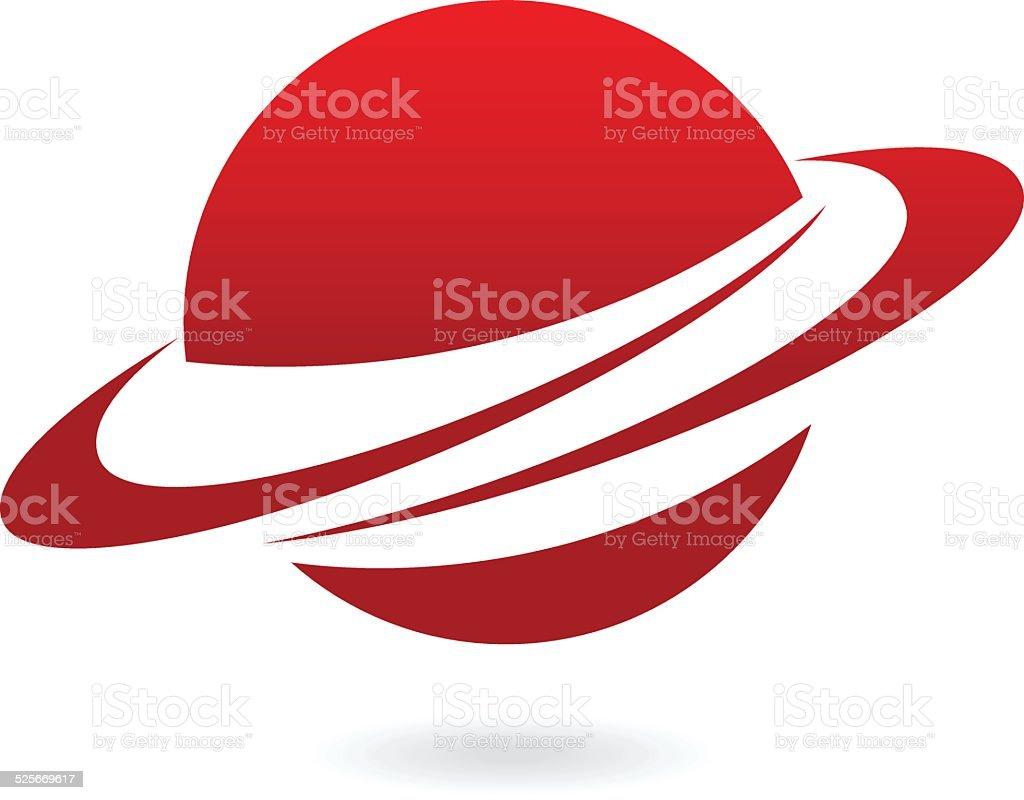 Red cartoon planet vector art illustration