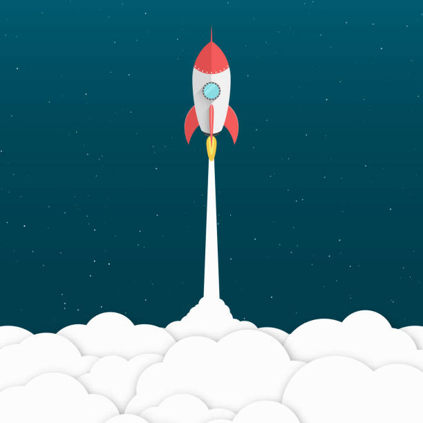 red cartoon rocket. background for your projects. white cloud of smoke. advertising poster for the site. modern design. achieving the goal. vector illustration in a flat style - abstract of paper spaceship launch to space stock illustrations, clip art, cartoons, & icons