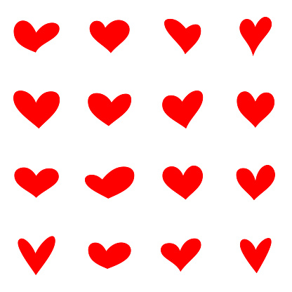 Red cartoon style hearts collection