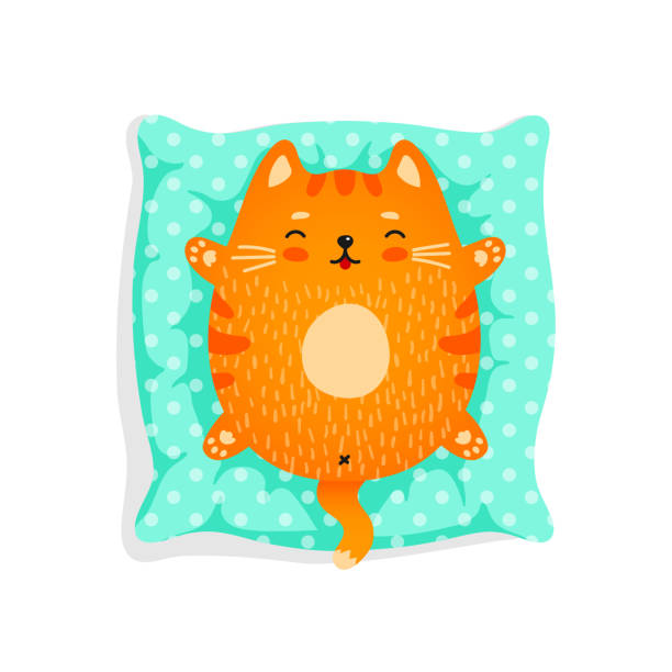 Red cat on pillow vector art illustration