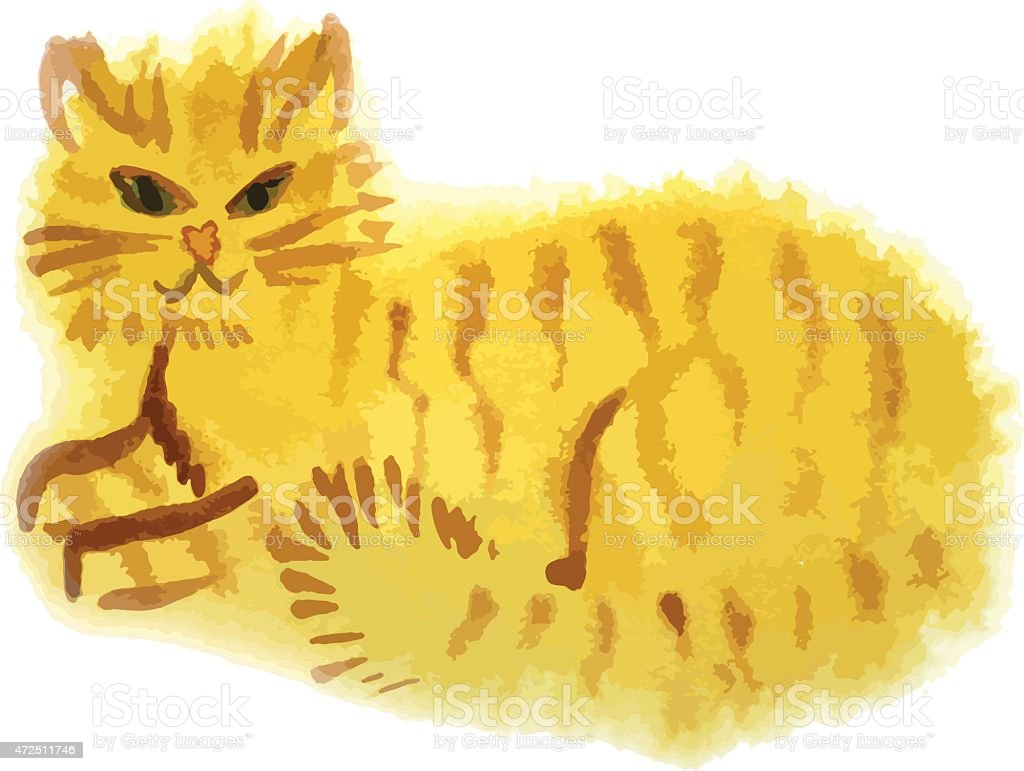 red cat vector art illustration