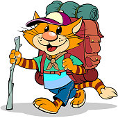 A vector illustration of a cartoon striped red cat with backpack and stick