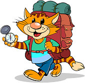 A vector illustration of a cartoon striped red cat with backpack and compass