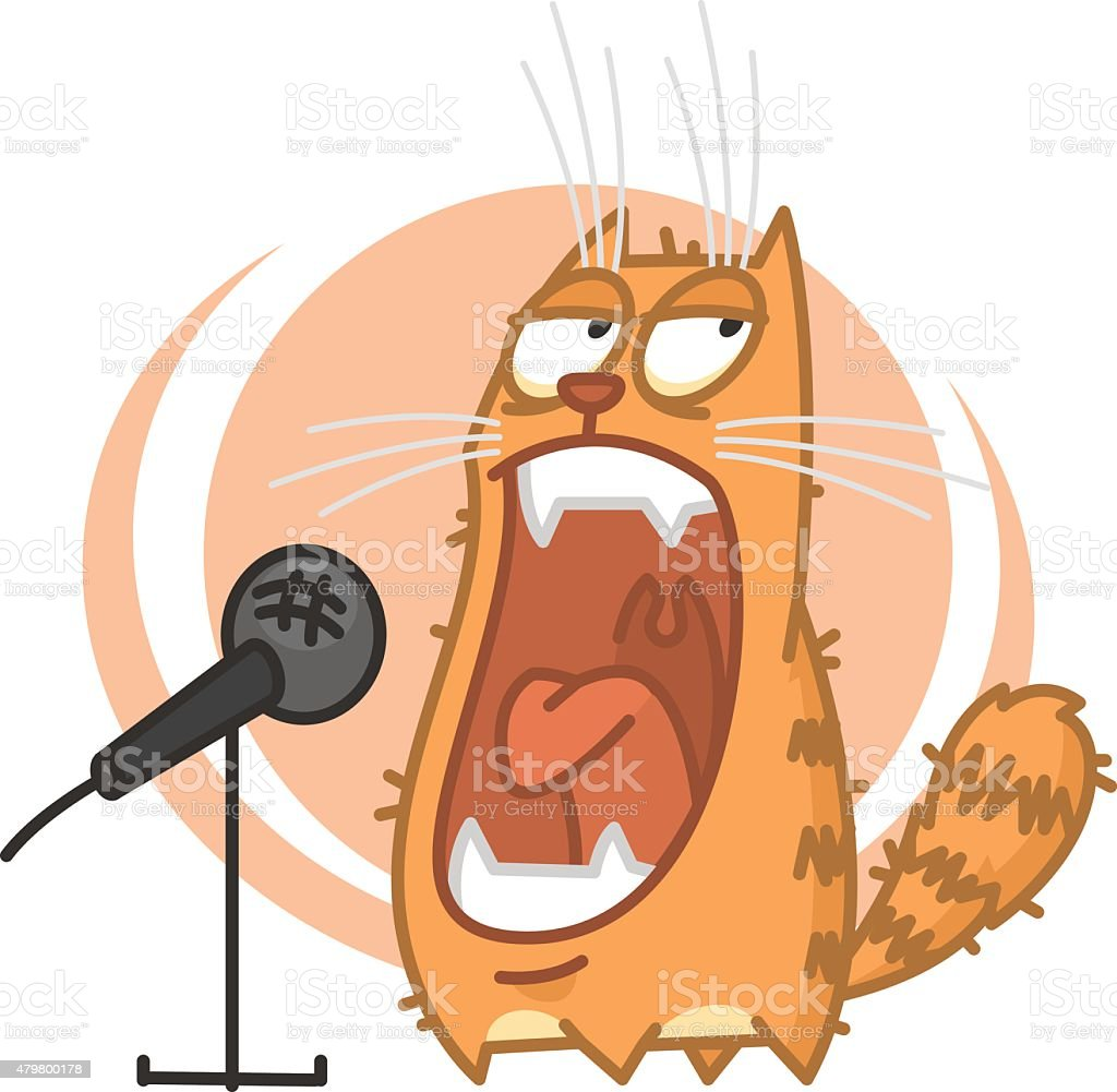 Red cat yells into microphone vector art illustration