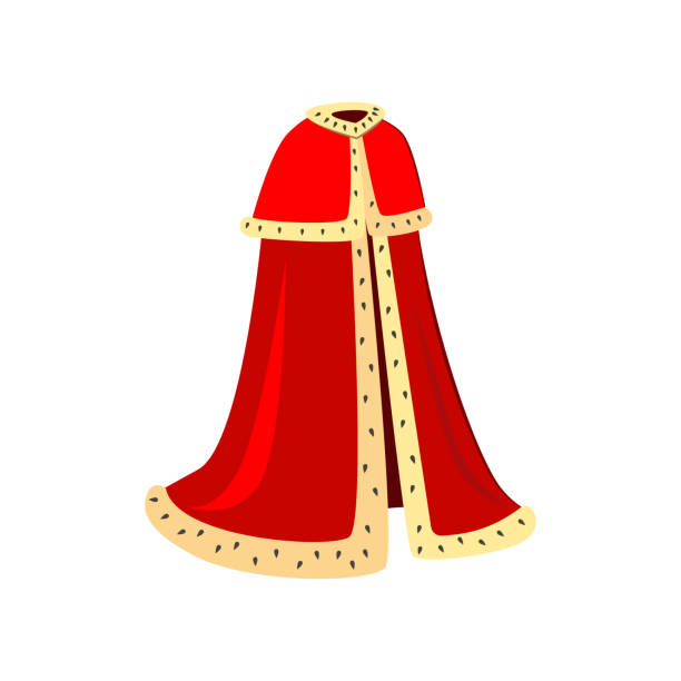 Red ceremonial robes vector illustration Red ceremonial robes vector illustration. King, emperor, cardinal. Monarchy attributes concept. Vector illustration can be used for topics like monarchy, Catholicism, history ermine stock illustrations