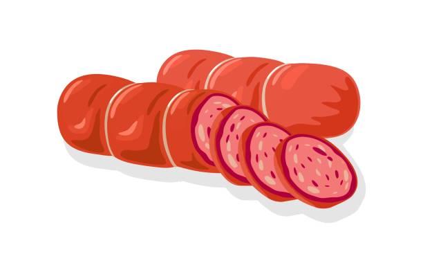 illustrazioni stock, clip art, cartoni animati e icone di tendenza di red cervelat, ham, sausage, kielbasa, salami, mortadella, pepperoni cutted to slices for sandwiches - mortadella