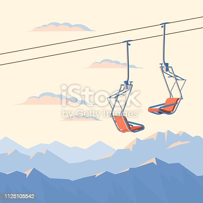 Red chair ski lift for mountain skiers and snowboarders moves in the air on a rope on the background of winter snow capped mountains and sunset. Vector flat illustration.