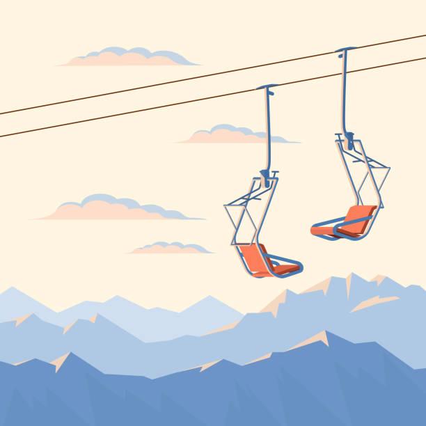 illustrazioni stock, clip art, cartoni animati e icone di tendenza di red chair ski lift and winter mountains. - sci