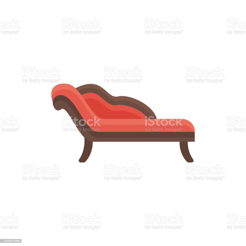 Red Chaise Lounge Sofa Vector Illustration Flat Icon Of Settee ...