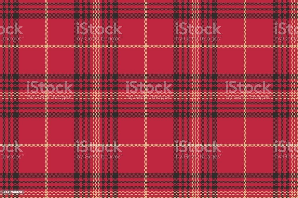Red check plaid tartan seamless pattern vector art illustration