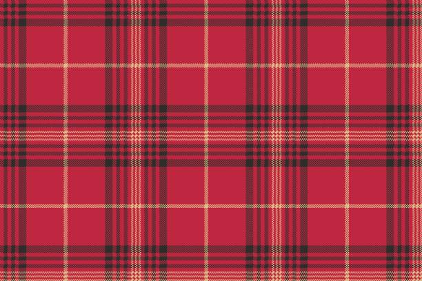 red check plaid tartan seamless pattern - flannel backgrounds stock illustrations, clip art, cartoons, & icons