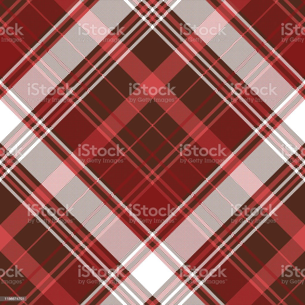 Red check plaid textile seamless pattern. Vector illustration.