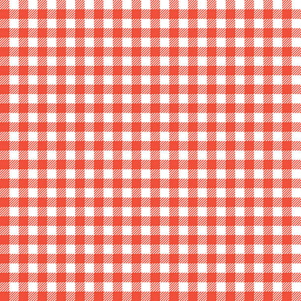 Red checkered tablecloths patterns. Seamless Checkered seamless Pattern. Red and white tablecloth background. Picnic gingham cloth template. Retro craft art print curtains fashioned style fabric vintage square. cooking patterns stock illustrations