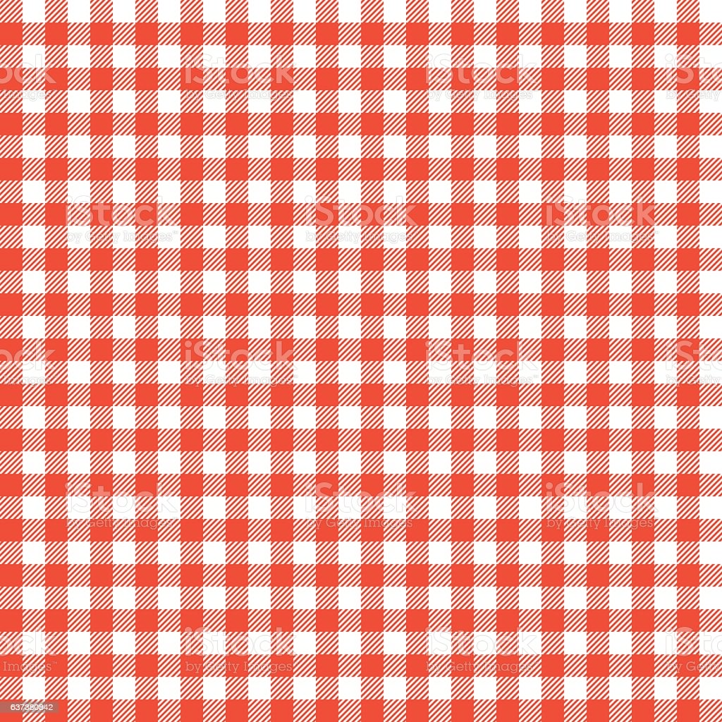 Red Checkered Tablecloths Patterns. Vector Art Illustration