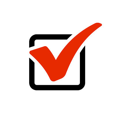Red checkmark in box. Vector