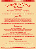 Red Chef or Cook Job Resume or Curriculum Vitae Template in Clean Retro Diner Menu Style