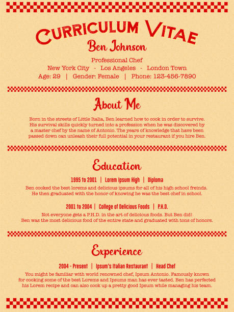 Red Chef or Cook Job Resume or Curriculum Vitae Template in Clean Retro Diner Menu Style vector art illustration
