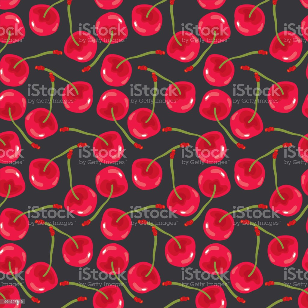 Red Cherries Seamless Pattern royalty-free red cherries seamless pattern stock vector art & more images of abstract