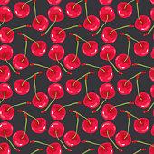Red Cherries Seamless Pattern. Vector illustration.