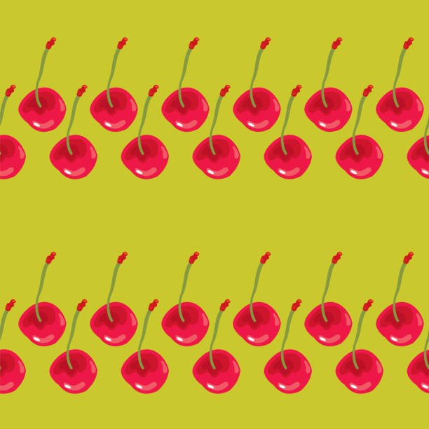 Red Cherries Seamless Pattern vector art illustration
