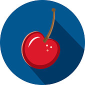 Vector illustration of a red cherry fruit Flat Design themed Icon with shadow. Vector eps 10, fully editable.